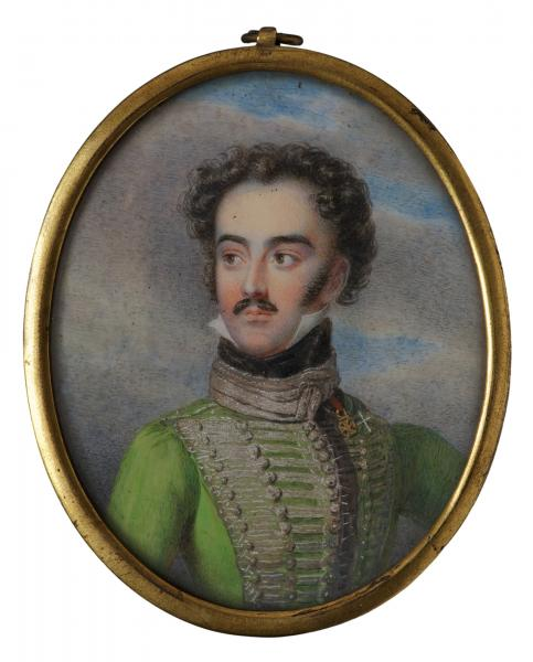 Ender, Johann Nepomuk, 1816 körül: Gróf Széchenyi István (1791–1860) miniatűr portréja egyenruhában, akvarell, elefántcsont, aranyozott, sárgaréz keret, teljes méret kerettel: 8,2 x 6,7 cm, jelzés nélkül, hátoldalon 196.sz. ltsz: 50.75