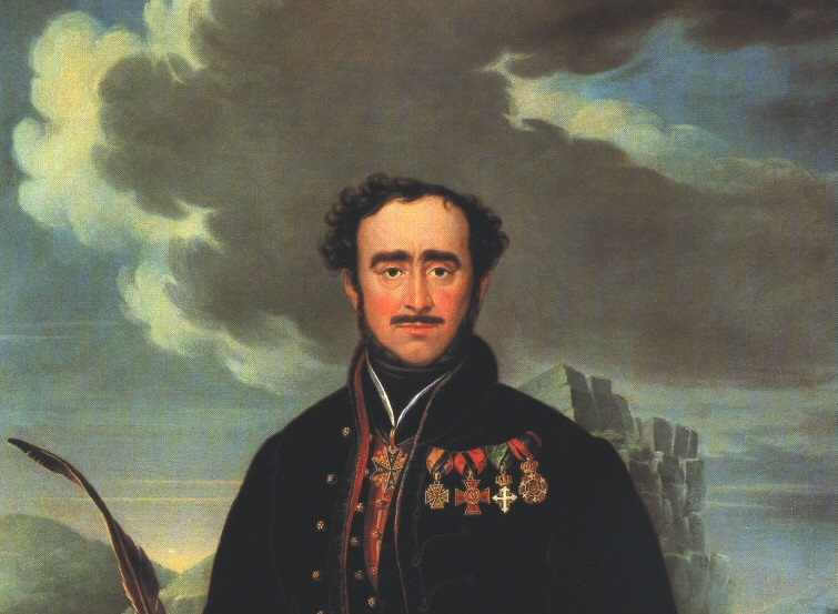 Részlet Schoefft Ágost: Széchenyi István a Vaskapunál című festményéből, 1836, olaj, vászon, 150 x 113 cm, Laczkó Dezső Múzeum, Veszprém