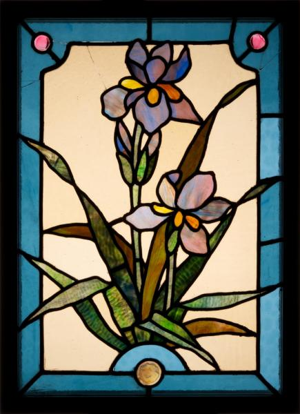 Stained glass window with irises, design by Karl Engelbrecht, executed by Miksa Róth, 1900-1902, inv.no. 65.304.1