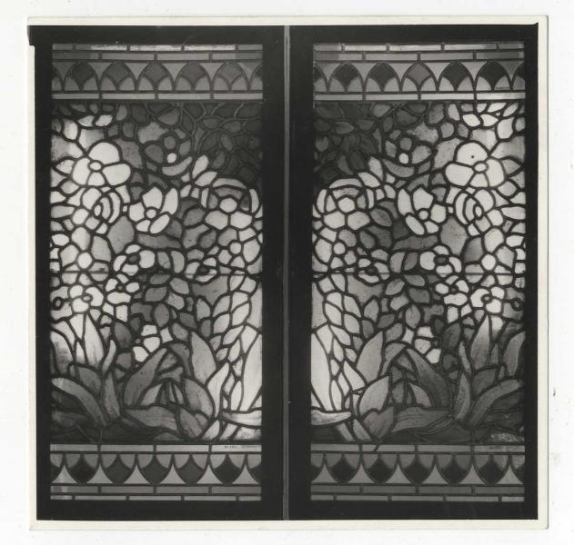 Pair of windows from the telephone booth in the erstwhile Japanese Coffee House, ca. 1900, design by József Rippl-Rónai, executed by Miksa Róth, inv.no. FLT 18142
