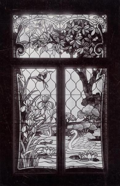 Stained glass window at the Christmas exhibition of the Association of Applied Arts, 1898, design and executed by Miksa Róth, inv.no. FLT 1946