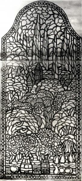 Az Iparművészeti Múzeum lépcsőházi ablakára készült terv, Rippl-Rónai József, 1915 körül, ltsz. FLT 21261