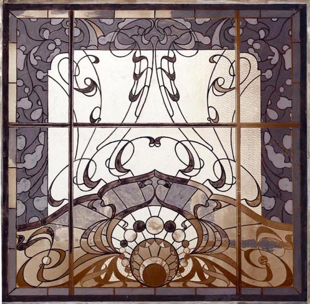 Üvegablak az Iparművészeti Társulat 1900. évi karácsonyi kiállításán, tervezte Horti Pál, készítette Waltherr Gida, ltsz. FLT 2724