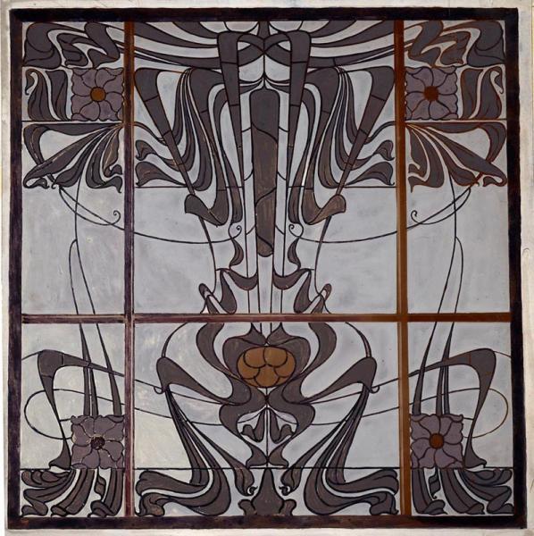 Üvegablak, tervezte (feltehetően) Horti Pál, készítette Waltherr Gida, ltsz. FLT 2790