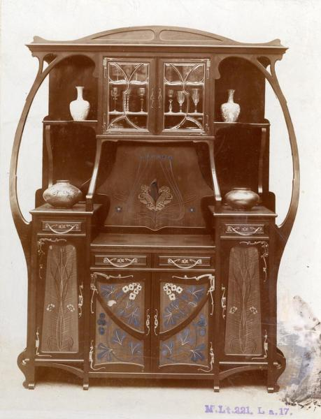 Cupboard presented at the Christmas exhibition of the Association of Applied Arts, 1899, design by Alajos Polgár, inv.no. FLT 3660
