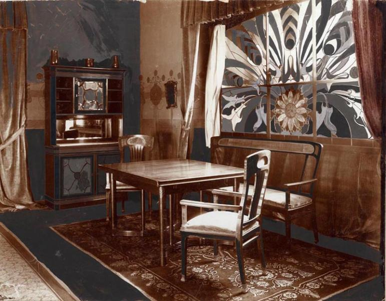 Dining room presented at the Christmas exhibition of the Association of Applied Arts, 1901, design by Pál Horti, FLT 4746