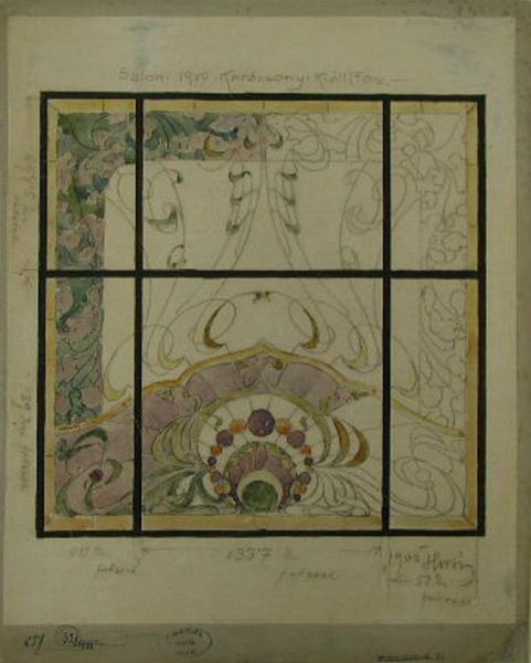 Design for stained glass window by Pál Horti, 1900, inv.no. KRTF 32
