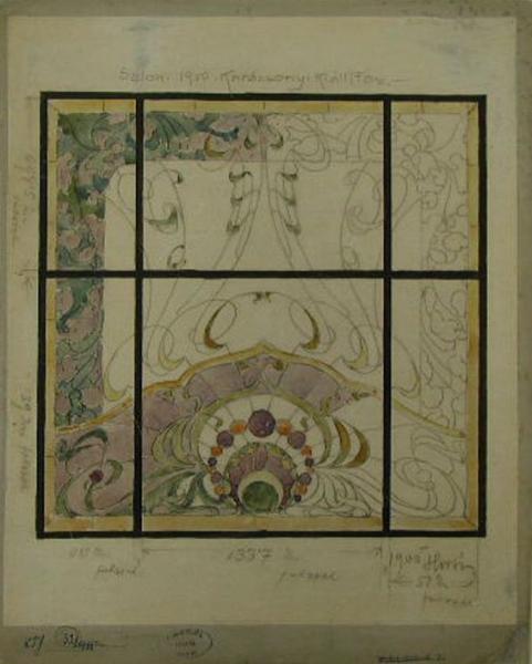 Horti Pál üvegablak-terve, 1900, ltsz. KRTF 32