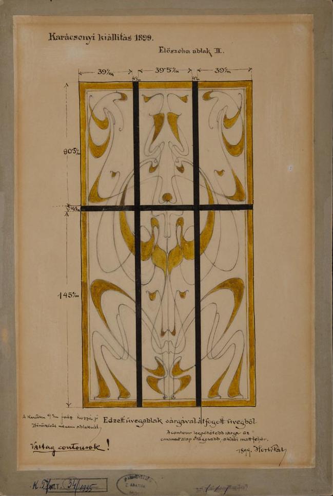 Horti Pál üvegablak-terve, 1899, ltsz. KRTF 34