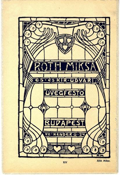 Advertisement card of Miksa Róth, ca. 1900, inv.no. MLT 1474
